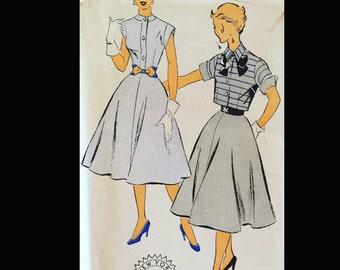 Vintage 50s Button Front Cap Sleeve Shirtwaist Dress w/ Cropped Bolero Sewing Pattern 1299 B29