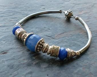 Blue crackle agate silver pewter beaded metal tube bracelet