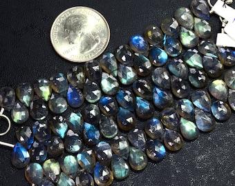 7MMx10MM Blue Flash Labradorite Faceted Pear Briolette Bead 3.5 Inch Strand