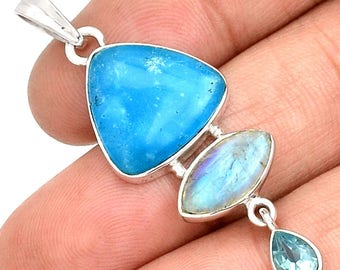 """Rich Blue, Undyed, All Natural Smithsonite & Moonstone Pendant. Blue Topaz Accent. 2"""" Long. 7936"""