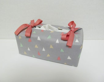 Tissue Box Cover/Triangle x Peach Ribbon