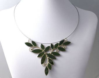 Genuine nephrite necklace, green jade necklace ,FREE SHIPPING
