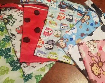 Small Wet bags for cloth diapers, cloth napkins, bibs, wet clothing etc