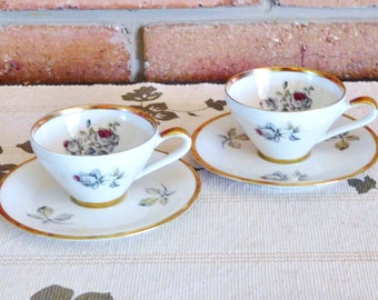 Alka Bavaria 1940s pair of demitasse duo cups and saucers, floral roses motif, high tea