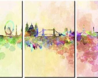 London Water Colour, 3 Panels,Digital Print,Wall Art, Colourful
