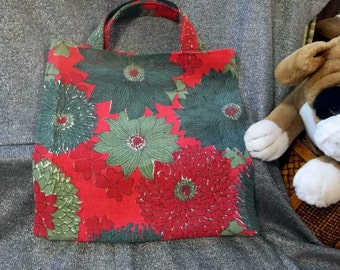 Book Lunch N Small Gift Tote Bag, Red and Green Flowers Print