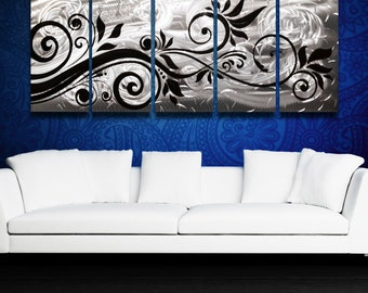 """Contemporary Metal Wall Art Panels Silver Wall Art Modern Abstract Floral Art Work Black Home Decor Painting """"Whispering Wind"""""""