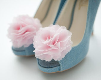 PALE PINK-Set of 2,Chiffon flower shoe clips for bridal wedding-Choose your Color