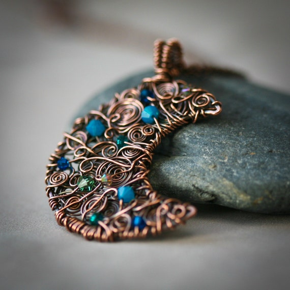 New Moon - Swirly Copper Wire Wrapped Pendant