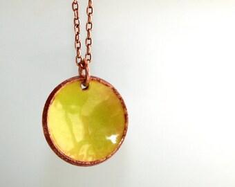 Lime Green Enamel Penny Necklace * Enamel Necklace * Enamel Jewelry * Green Necklace * Lucky * Penny Jewelry * Penny Necklace.....*Lucky Me*