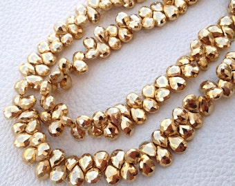Brand New, GOLDEN PYRITE Micro Faceted Pear, 8-9mm,Full 7 Inch Strand,Amazing Quality,Finest Item