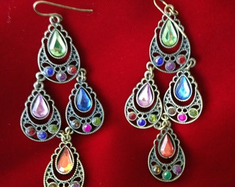 Vintage Filigree and and Multicolored Rhinestone Dangle Earrings