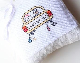 Ring Bearer Pillow, Cushion, Linen Pillow, Cross Stitch Pillow, Wedding Pillow, Ring Pillow