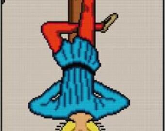 The Hanged Man Cross stitch pattern PDF tarot card major arcana