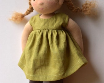 """14"""" Waldorf Doll / Natural Fibre Art Doll with Mohair Weft"""