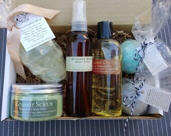 Gift Set - Goth Gift - Bath Set  - Bath Bombs - Zombie Scrub - Skull Soap - Zombie Oil - Free Shipping
