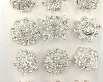 A pack of 12 beautiful silver diamante flower pin brooches wedding bouquet