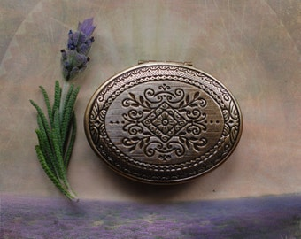 Vera Solid Natural Perfume Mini Compact - Inspired by the Lavender Fields & Orange Groves of Ojai - California Sage - Keepsake Pocket Locket