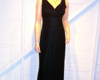 Vintage Black Velvet Open Back Evening Dress M
