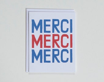 Merci Merci Merci - Thank You Note Card