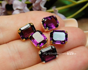 Amethyst Vintage Swarovski Crystal 10x8mm Octagon Unfoiled 4610 Crystal Sew On Craft Supplies Jewelry Making February Birthstone
