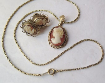 Cameo 12K GF  Necklace Earrings Set Carved Shell Gold Filled Art Nouveau Edwardian 1950s Marked LF BAB Heirloom Mother's Day Bride Wedding