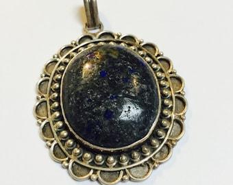 Lapis Lazuli and Sterling Pendant - 1 Piece - #516
