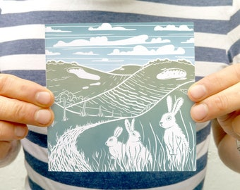 Imaginary Downland - blank greetings card - whimsical wall art, Sussex landscape art, English landscape picture, chalk hills with rabbits