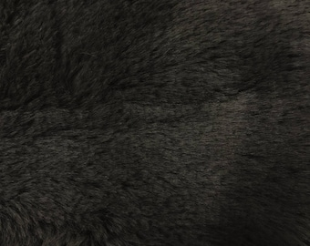 Black Faux Fur Short Pile Fabric by the Yard- Style 5048