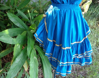 70s 80s Blue Fancy gold trimmed Square Dance Dancing Full Skirt by Jeansvintagecloset on Etsy