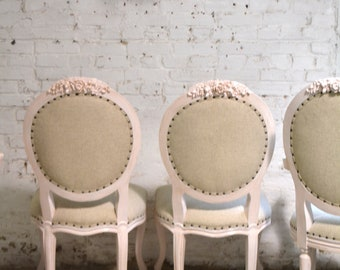 Painted Cottage Chic Shabby Farmhouse Pink French Chair