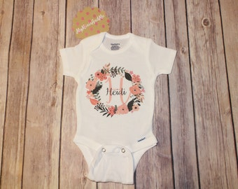 Baby Name Onesie®, Custom Onesie, Floral Wreath, Baby girl clothing, One-piece, Baby Shower Gift, Customized, Personalized Onesie. Gifts.