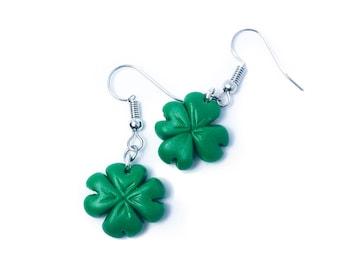 Clover Earrings, St Patricks day Earrings, Saint Patrick's Day, Four Leaf Clover Earrings, Shamrock Earrings, Polymer Clay, Irish Earrings