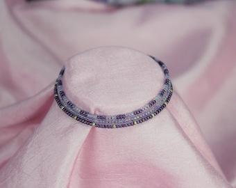 Seed bead bracelets, set of 3, pink and purple glass beads