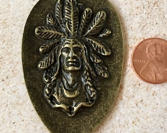 Indian Chief with Headdress Bronze Pewter Pendant, Jewelry Supply