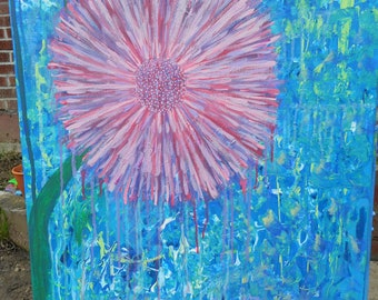 """Flower Acrylic Painting On Canvas by Jaime Alyssa, 30""""x24"""", Abstract, Bright, Spring, Summer, Nature, Trippy, Large, Statement, Calming"""
