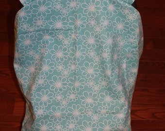 Car Seat Cover / Baby Car Seat / Girl Car Seat / Teal with Flowers / Warm Cover / Wind Breaker / Seat Cover / Hand Made / Cotton /  Pretty