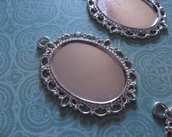25X18mm Settings - Silver Plated Brass - Oval Pendants - Fancy Bezel Frames - Qty 6