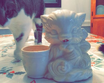 1960s white cat planter