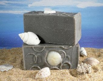Dead Sea Mud Soap  / Unscented Soap, Face Soap, Acne Soap, Cold Process Soap, Black Soap, Detox, Cocoa Butter Soap,Fragrance Free Soap