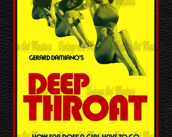 "Classic Vintage XXX Adult Movie Poster -  ""Deep Throat"" Image - Ready To Hang Traditional Wall Art"