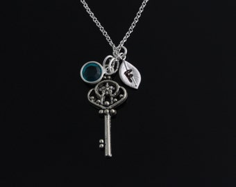 Personalized initial birthstone key necklace, Beautiful key necklace, Flower key necklace, silver key necklace, key birthstone initial