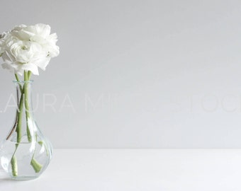 White Flowers in Vase / White Ranunculus / Styled Stock Photography / Home Stock Photo / Digital Background