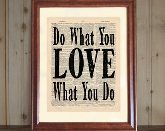 Love Dictionary Print, Do What You Love Quote, Co-Worker Gift, Office Decor, Love Print, Inspiring Life Quote on 5x7 or 8x10 Canvas Panel