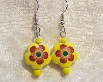 Yellow Earrings, Red Flower Earrings, Porcelain Flower Earrings, Bright Yellow Earrings, Summertime Earrings, Clip ons Available