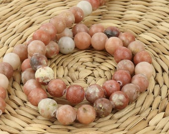 8 mm Pink jasper stone • Natural Jasper beads • Pink stone beads • Jasper beads • Gemstone beads • Jewelry supplies •