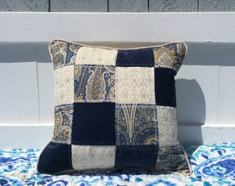 Blue and Cream Patchwork Reversible Decorative Throw Pillow Housewarming Gift Idea Home Decor Home Accents Paisley White Elegant Handmade