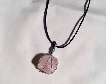 Rose Quartz Wire Wrapped Pendant.