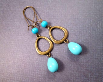 Blue Glass Drop Earrings, Mod Loops, Long Brass Dangle Earrings, FREE Shipping U.S.