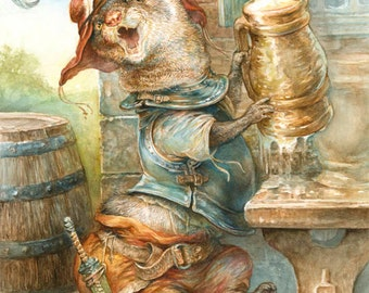 Ferret with Flagon (print)
